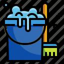 broom, bucket, pai, wash, cleaner icon