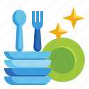 clean, dishes, plates, wash, washing icon