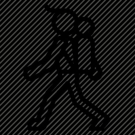 backpacking, man, walk icon