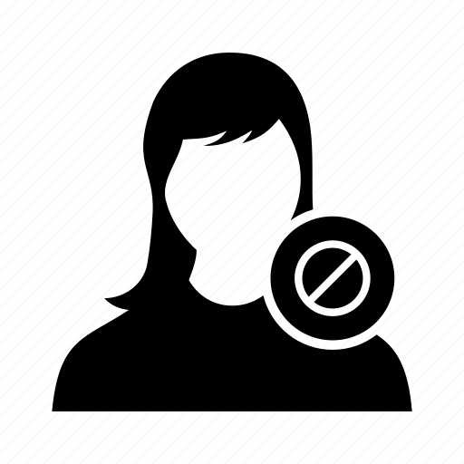banned, block, block user, disable, female, girl, user icon