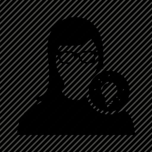 avatar, bulb, idea, user, woman icon