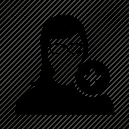 add, avatar, new, plus, profile, user, women icon
