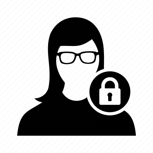 female, lock, security, user, women icon