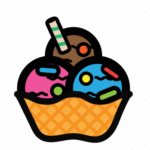 bowl, cream, dessert, ice, scoop, topping icon