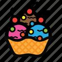 bowl, cream, dessert, ice, scoop, topping