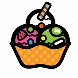 bowl, cream, dessert, ice, scoop, topping icon