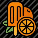 fruit, ice, orange, pop icon
