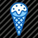 cone, cream, ice, waffle