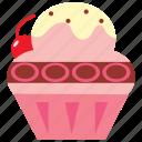 cupcake, dessert, icecream, strawberry, summer icon