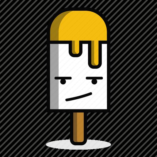 annoyed, bored, cream, dessert, ice, stick, sweet icon