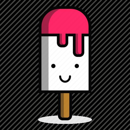 cream, dessert, happy, ice, smile, stick, sweet icon