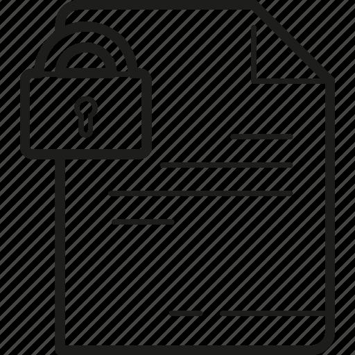 document, letter, locked, paper, secret icon