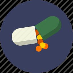 capsule, drug, health care, medicine, natural, nutrition, vitamin icon