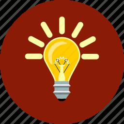 bulb, creative, ideea, inspiration, invention, lightbulb, seo icon
