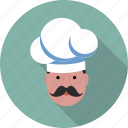 cap, chef, gastronomical, hat, moustache, profile, user icon