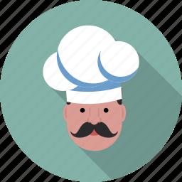 cap, chef, gastronomical, hat, moustache, profile, user icon