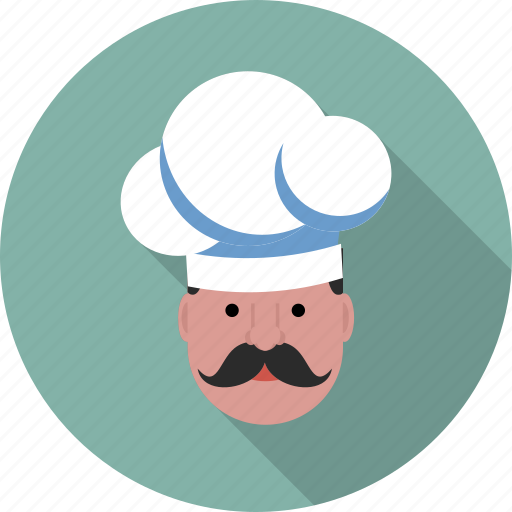 Moustache, cap, chef, gastronomical, user, hat, profile icon