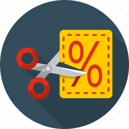 business, coupon, cut, discount, marketing, price, shop icon