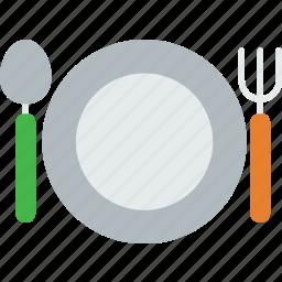 dinner, food, fork, kitchen, set, spoon icon