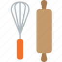 bake, cake, kitchen, pin, rolling, wisk icon