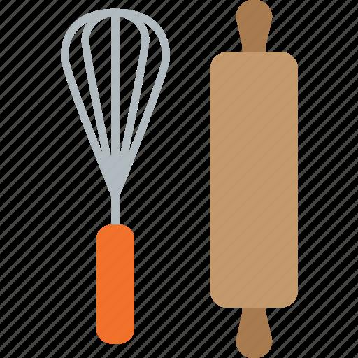 bake, cake, kitchen, pin, rolling, wisk icon
