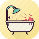 bathtub, bubbles, clean, home, shower, wash, water icon