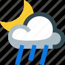 partly, rainy, night, moon, rain