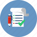business, checkmark, document, notebook, notes, pencil, schedule icon