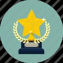 award, laurel, prize, star, team, trophy, winner