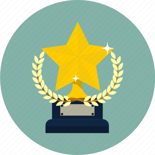 award, laurel, prize, star, team, trophy, winner icon