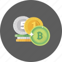 bitcoin, business, currency, dollar, euro, investment, money icon