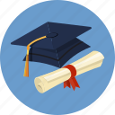 bow, cap, diploma, graduate, hat, scroll, university icon