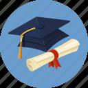 bow, cap, diploma, graduate, hat, scroll, university