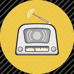 antique, equipment, media, radio, vintage icon