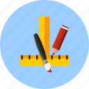 construction, education, instrument, pen, ruler, tools, write icon