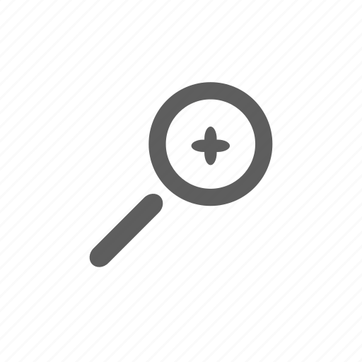 magnifying glass, plus icon