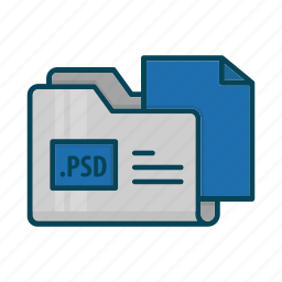directory, document, extension, folder, graphics, photoshop, psd icon