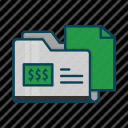 directory, document, dollar, files, folder icon