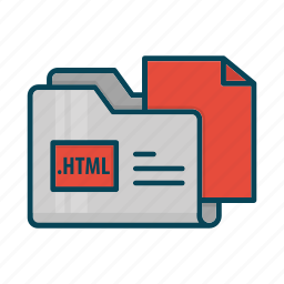 directory, document, extension, files, folder, html icon