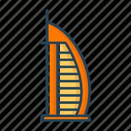 burj, dubai, emirates, hotel, united icon