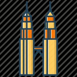 building, landmark, malaysia, petronas, skyline icon