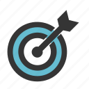 arrow, business, finance, focus, target icon
