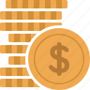 business, cash, coin, dollar, finance, money, stacked icon