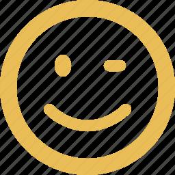 blink, emoticon, emotion, face, happy, smile, smiley icon