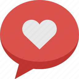 bubble, chat, comment, communication, favorite, heart, love, speech, talk icon