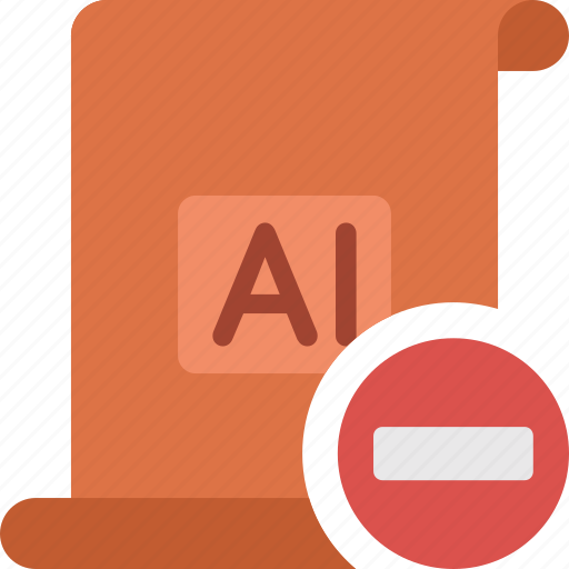 delete, document, extension, file, illustrator, minus, paper, remove icon