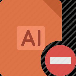 delete, document, extension, file, illustrator, minus, paper, remove icon