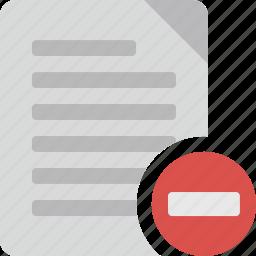 delete, document, file, minus, paper, remove icon