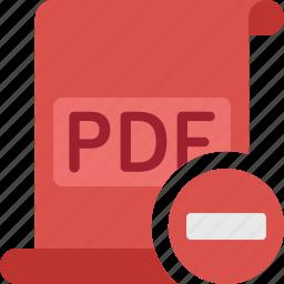 delete, document, extension, file, minus, paper, pdf, remove icon