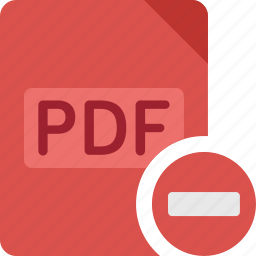 delete, document, extension, file, minus, paper, pdf, remove icon